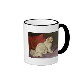Gato persa blanco taza de café