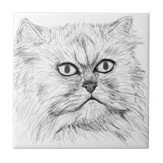 Gato persa bosquejado Digital con los ojos grandes Azulejo Cuadrado Pequeño