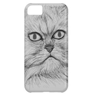 Gato persa bosquejado Digital con los ojos grandes Funda iPhone 5C