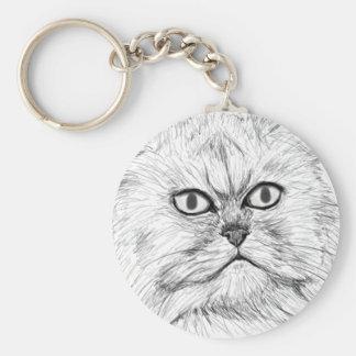 Gato persa bosquejado Digital con los ojos grandes Llavero Redondo Tipo Pin