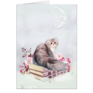 Gato persa con los libros tarjeta de felicitación