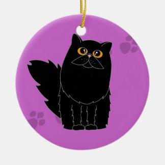 Gato persa/de pelo largo negro Pawprint Ornamentos De Reyes