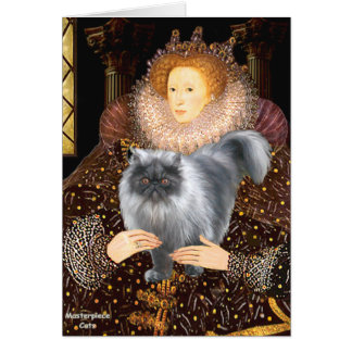 Gato persa del humo azul de la reina felicitaciones