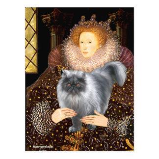 Gato persa del humo azul de la reina postal