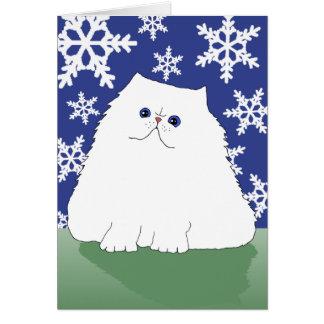 Gato persa del navidad (pequeño) tarjeta pequeña