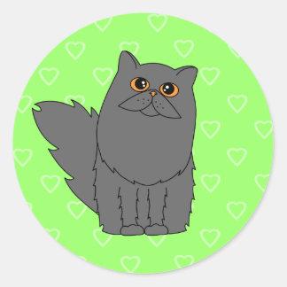 Gato persa gris con los ojos anaranjados pegatina redonda