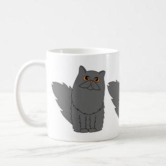 Gato persa gris con los ojos anaranjados taza clásica
