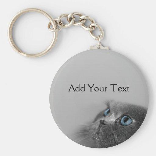Gato persa gris con los ojos azules en gris llaveros