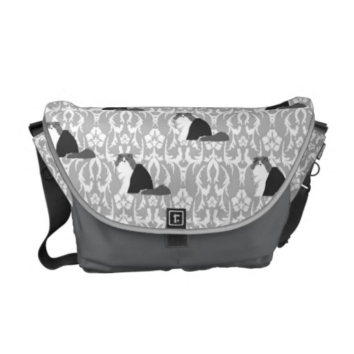 Gato persa gris en la bolsa de mensajero del damas bolsas de mensajería