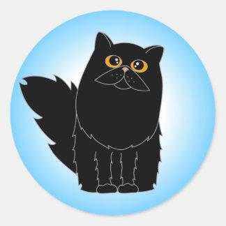 Gato persa negro con los ojos anaranjados pegatina redonda