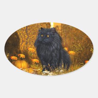 Gato persa negro Halloween Pegatina Ovalada