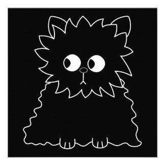 Gato persa negro lindo invitación