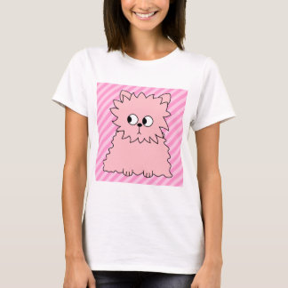 Gato persa rosado lindo. Fondo rayado rosado Playera