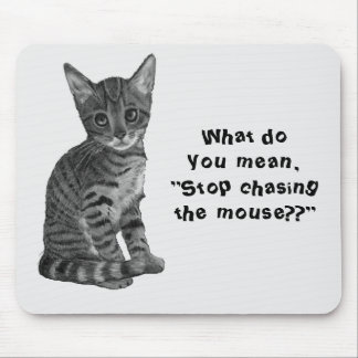 Gato: Persecución del ratón, dibujo original, Tapetes De Ratón