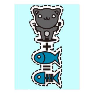 Gato + Pescados = hueso Postales