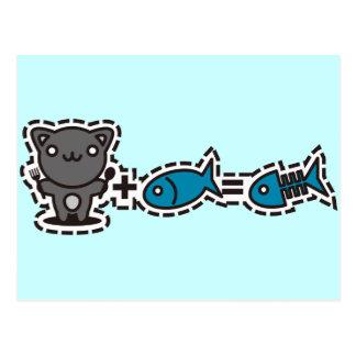 Gato + Pescados = hueso Tarjetas Postales