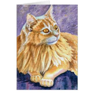 Gato poner crema del angora tarjeta de felicitación