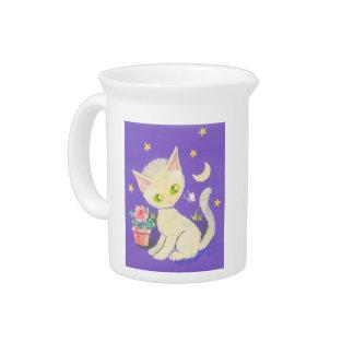 Gato poner crema del gatito con la maceta, la luna jarras