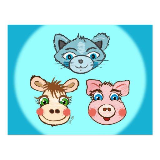 Gato postal del azul guarro y de la vaca