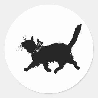 Gato Prancing Pegatina Redonda