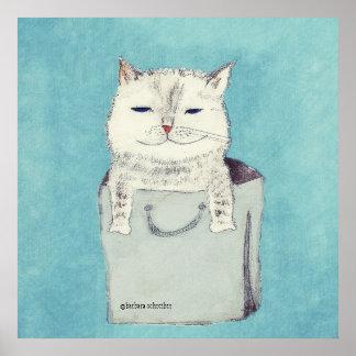 Gato presumido en un poster del bolso