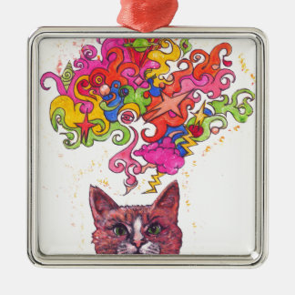 Gato psicodélico adorno navideño cuadrado de metal