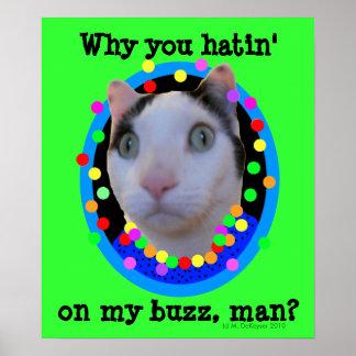 Gato psicodélico del zumbido del arco iris del Hip Posters