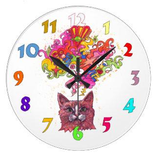 Gato psicodélico reloj redondo grande
