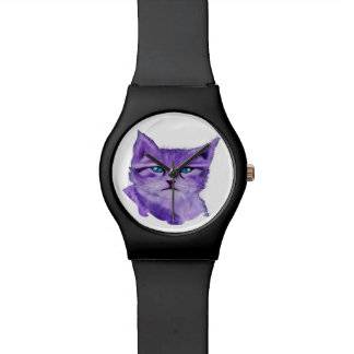 Gato púrpura artístico de encargo con los ojos reloj