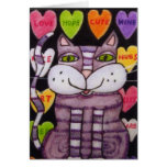 Gato púrpura de la tarjeta del día de San Valentín