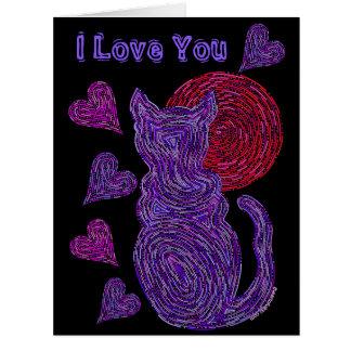 Gato púrpura de Z y el aniversario del amante del Tarjeta De Felicitación Grande