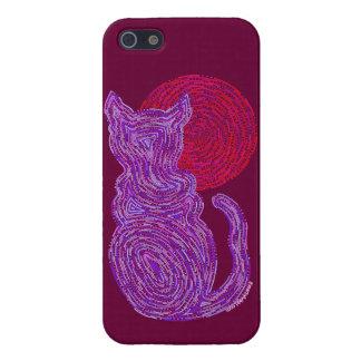 Gato púrpura de Z y el iphoneSE LISTO de la luna iPhone 5 Fundas