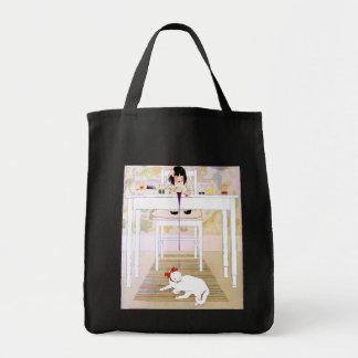 Gato púrpura del blanco de la pintura bolsa tela para la compra