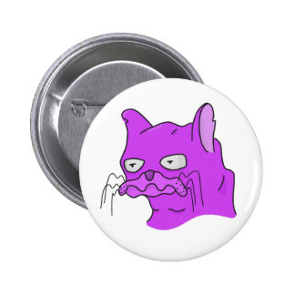 Gato púrpura del Grump Pin Redondo De 2 Pulgadas