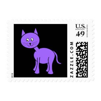 Gato púrpura lindo. Dibujo animado del gato en Sellos