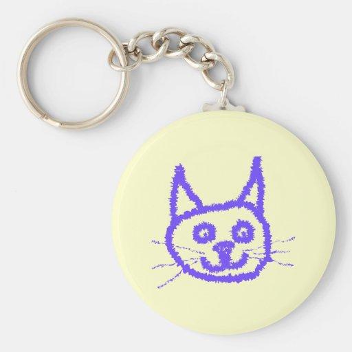 Gato púrpura llavero redondo tipo pin