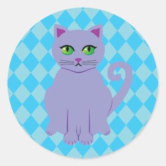 Gato púrpura pegatina redonda