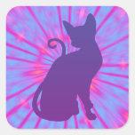 Gato púrpura pegatina cuadradas personalizada