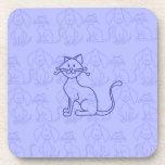 Gato púrpura posavasos de bebidas