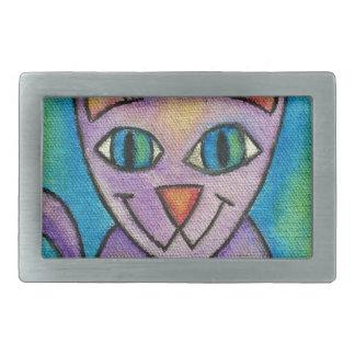 Gato púrpura rosado del gatito hebillas cinturón rectangulares