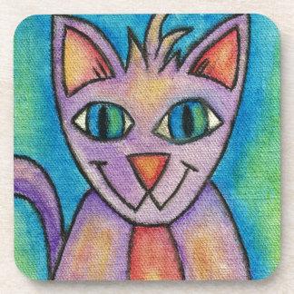 Gato púrpura rosado del gatito posavaso