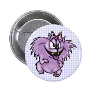 Gato púrpura salvaje del dibujo animado pins