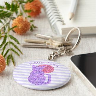 Gato púrpura y el amante del gato de la luna llavero redondo tipo pin