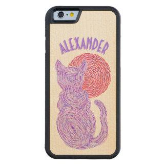 Gato púrpura y el gatito felino del amante del funda de iPhone 6 bumper arce