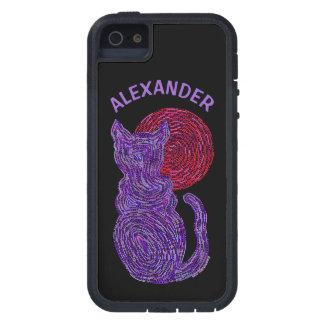 Gato púrpura y el gatito felino del amante del funda para iPhone SE/5/5s