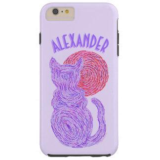 Gato púrpura y el gatito felino del amante del funda resistente iPhone 6 plus