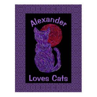 Gato púrpura y el gatito felino del amante del postal