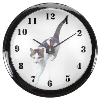 Gato que camina relojes aqua clock