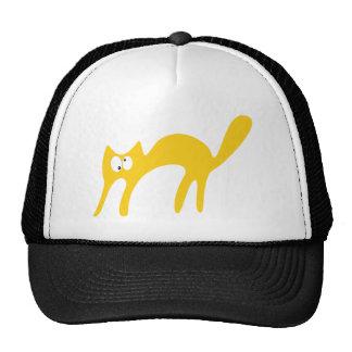 Gato que camina sobre los ojos amarillos de Topsy  Gorro De Camionero