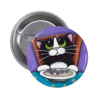 Gato que come el botón de la sopa pin redondo de 2 pulgadas
